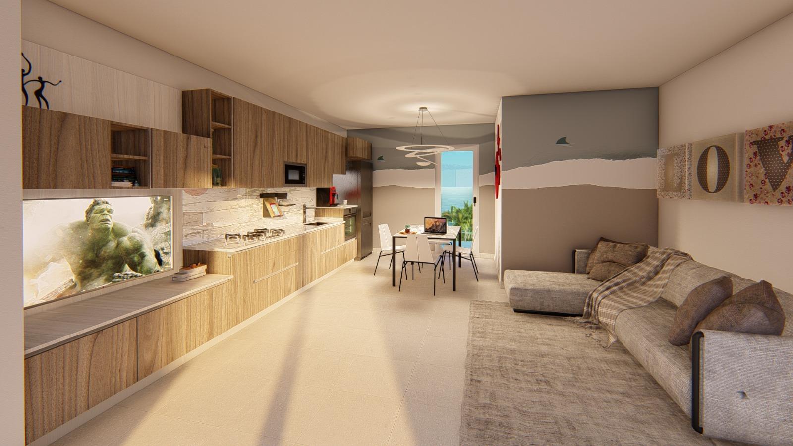 Cucina Soggiorno Stretta E Lunga cucina lunga e stretta visibile con tavolo e zona tv |