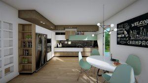 Cucina in foto render frigo doppia anta e gress