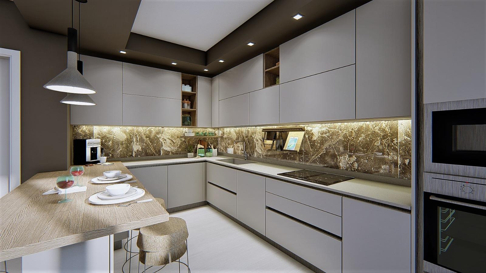 foto render cucina bianca e legno con penisola