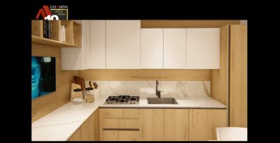 video render cucina con moduli in cartongesso
