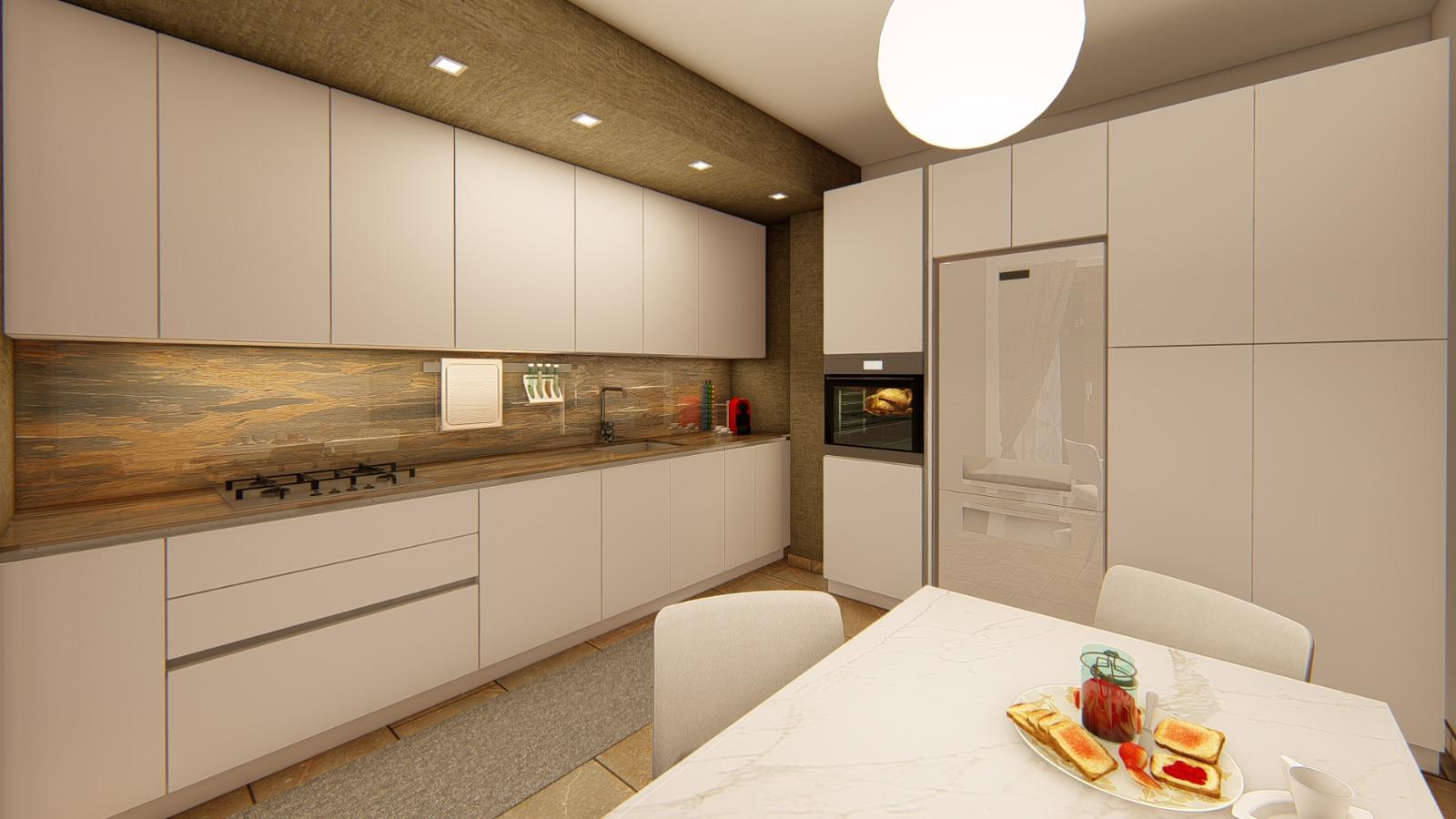 Foto render di una progettazione cucina e living con divano a penisola