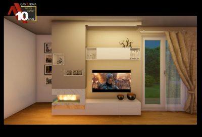 caminetto con parete attrezzata integrata