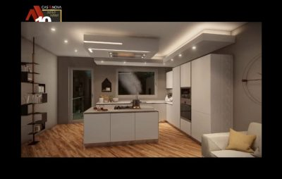 Video render di cucina in ambiente living con cappa a soffitto
