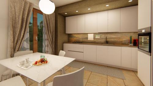 Foto render di una progettazione cucina e living con divano a penisola 1