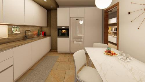 Foto render di una progettazione cucina e living con divano a penisola 2