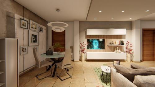 Foto render di una progettazione cucina e living con divano a penisola 3