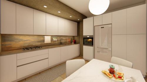 Foto render di una progettazione cucina e living con divano a penisola 4