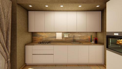 Foto render di una progettazione cucina e living con divano a penisola 5
