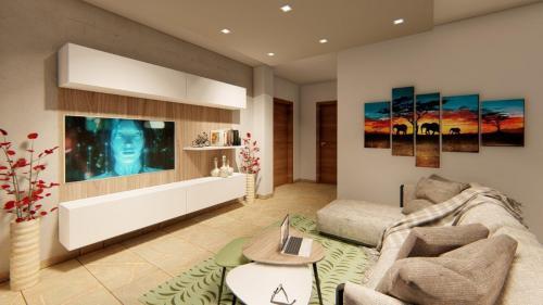 Foto render di una progettazione cucina e living con divano a penisola 6