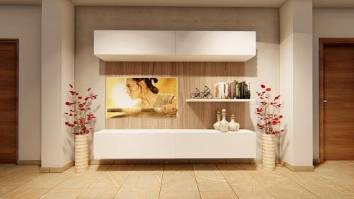 Foto render di una progettazione cucina e living con divano a penisola 7