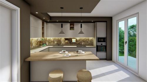 foto render cucina bianca e legno con penisola1