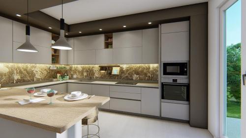 foto render cucina bianca e legno con penisola2