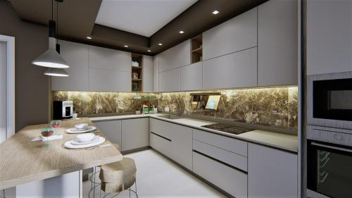 foto render cucina bianca e legno con penisola3
