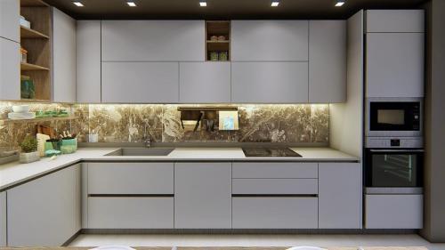 foto render cucina bianca e legno con penisola4