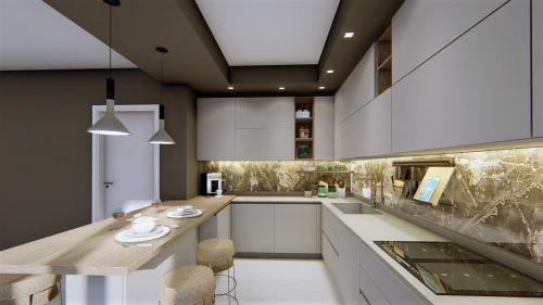 foto render cucina bianca e legno con penisola5